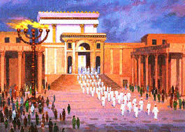 An artist's depiction of Ancient Hebrew Temple in Jerusalem.