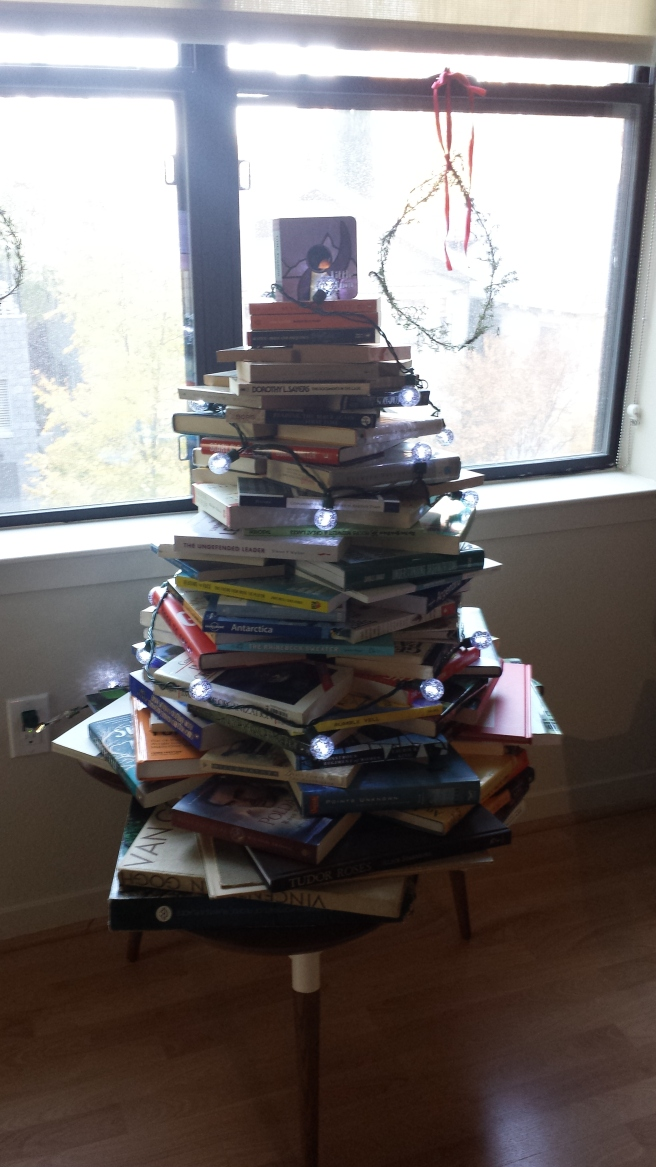 I cannot go through my books until after Christmas. Many of them are being deployed as my Christmas tree.